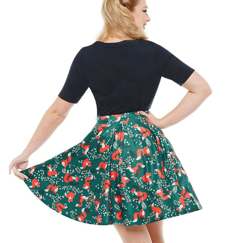 'Pepper' Green Fox Full Circle Skirt