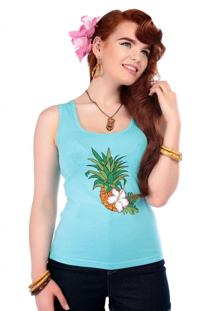 Pineapple Hibiscus Tank Top