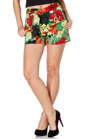 Polly V Tropical Floral Print Shorts