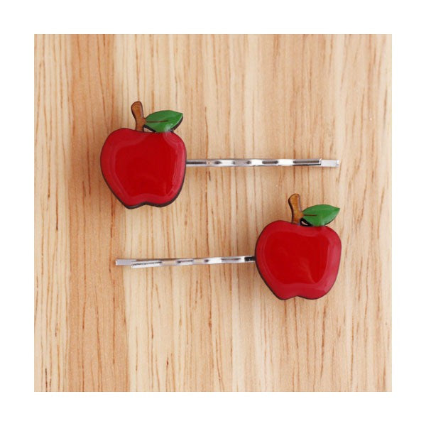 Woodland Garden - Apple Hairclips (Red)