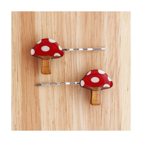 Woodland Garden - Toadstool Hairclips
