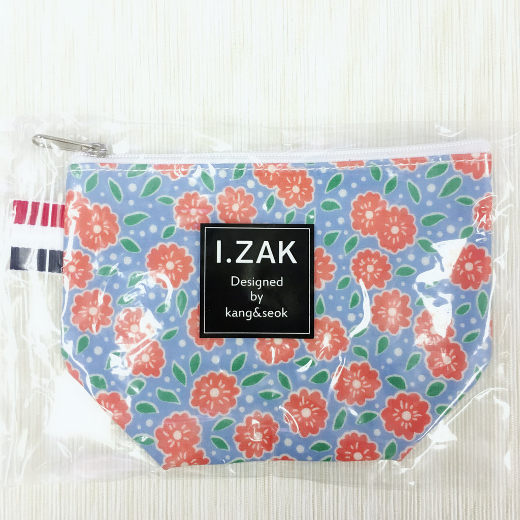 Korea I.ZAK Small Pouch (Blue) Red Flowers & Dot S1397