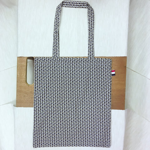 Korea I.ZAK Soft Tote Bag (White) Green & Nacy Triangle S1427