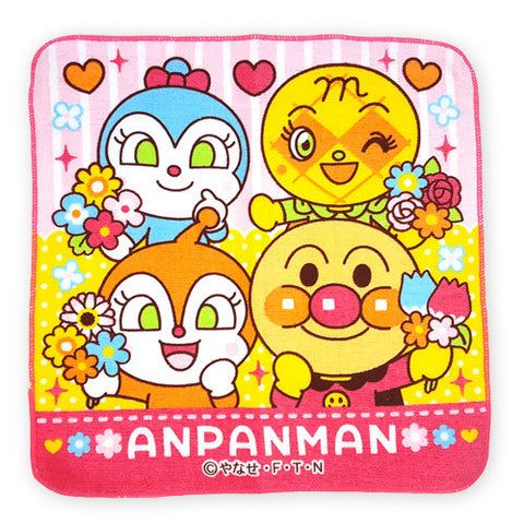 Anpanman Towel 25 x 25cm (Pink, Big 4 Head) J51778