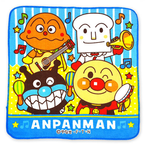 Anpanman Towel 25 x 25cm (Blue, Big 4 Head) J51779