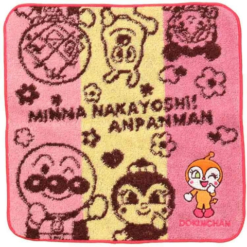 Anpanman Towel 21.5 x 21.5cm (red), Made in Japan J52227