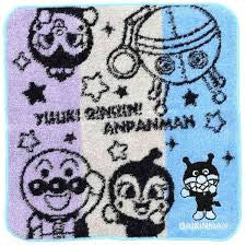 Anpanman Towel 21.5 x 21.5cm (blue), Made in Japan J52228