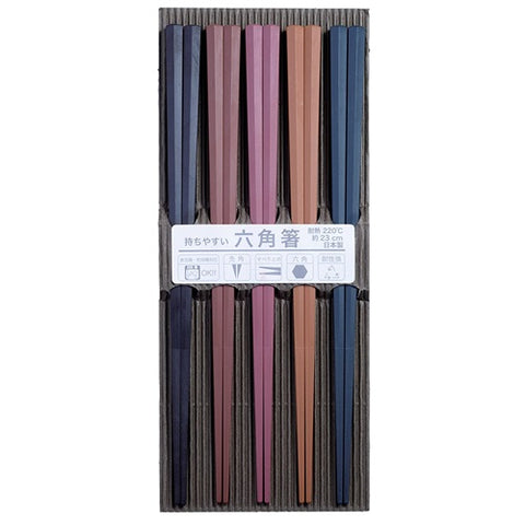 Colored Chopsticks 5 pairs, Made in Japan J52811