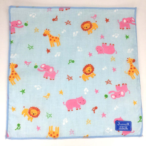 Junior Handkerchief Towel 10pcs Set (Lion Blue), Made in Japan J53184