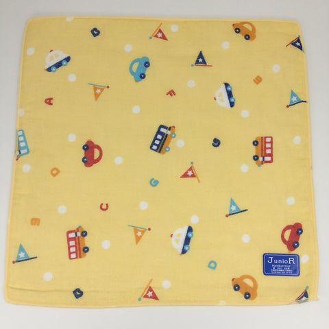 Junior Handkerchief Towel 10pcs Set (Car Yellow), Made in Japan J53185