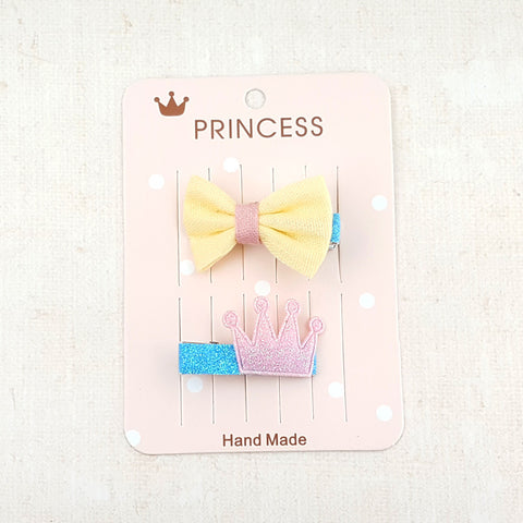 Yellow Bow and Glitter Crown Hair Clip 2pk 81468