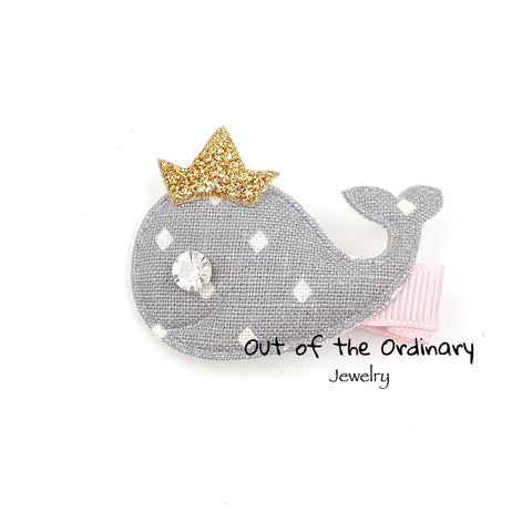 Whale with Crown Hair Clip 81549