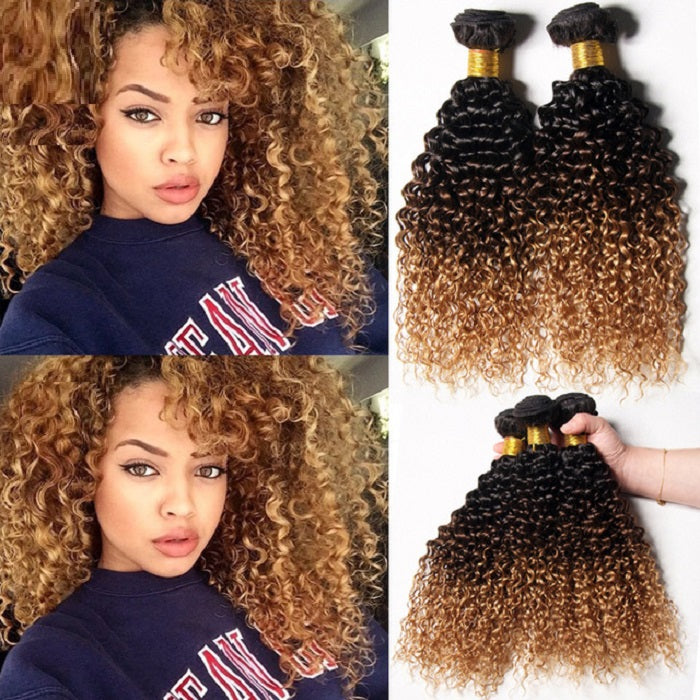 Ombre Brazilian Hair Bundles Curly Weave Human Hair Extensions Hair No Shedding
