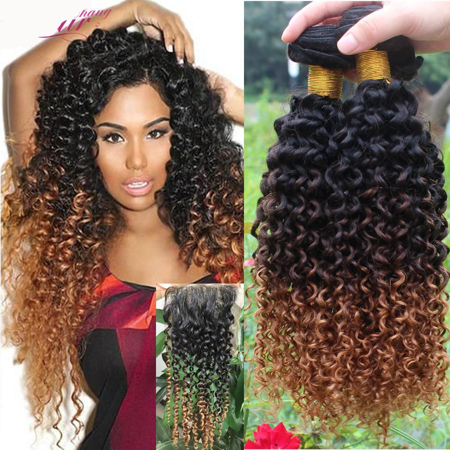 Ombre Brazilian Hair Bundles Curly Weave Human Hair Extensions