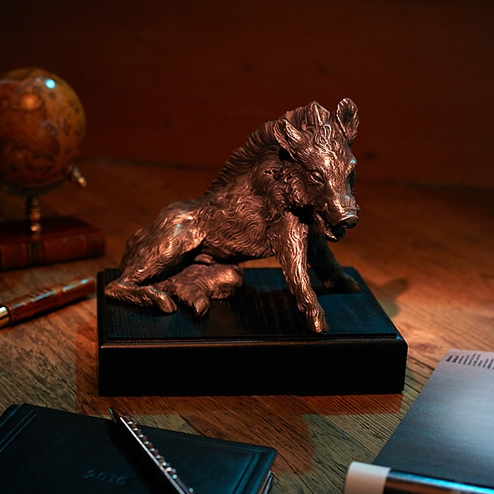 Wild Boar Bronzed on the Plinth