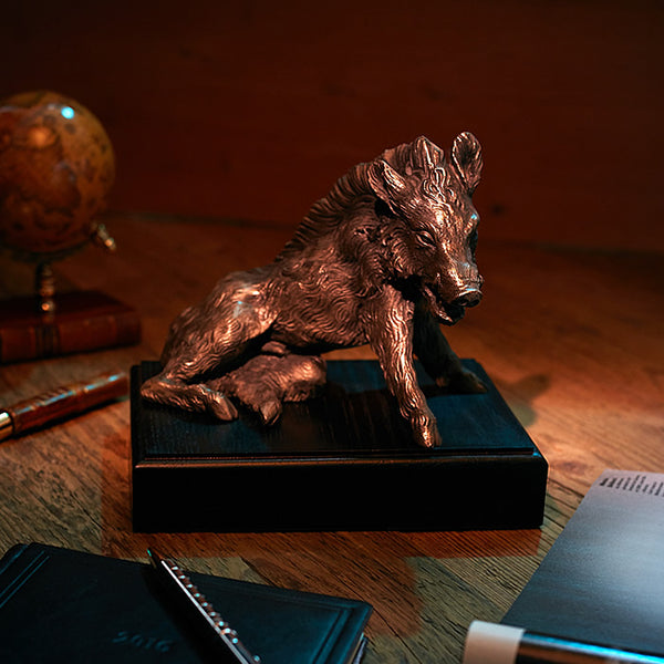 Wild Boar Bronzed on the Plinth-ANTORINI®
