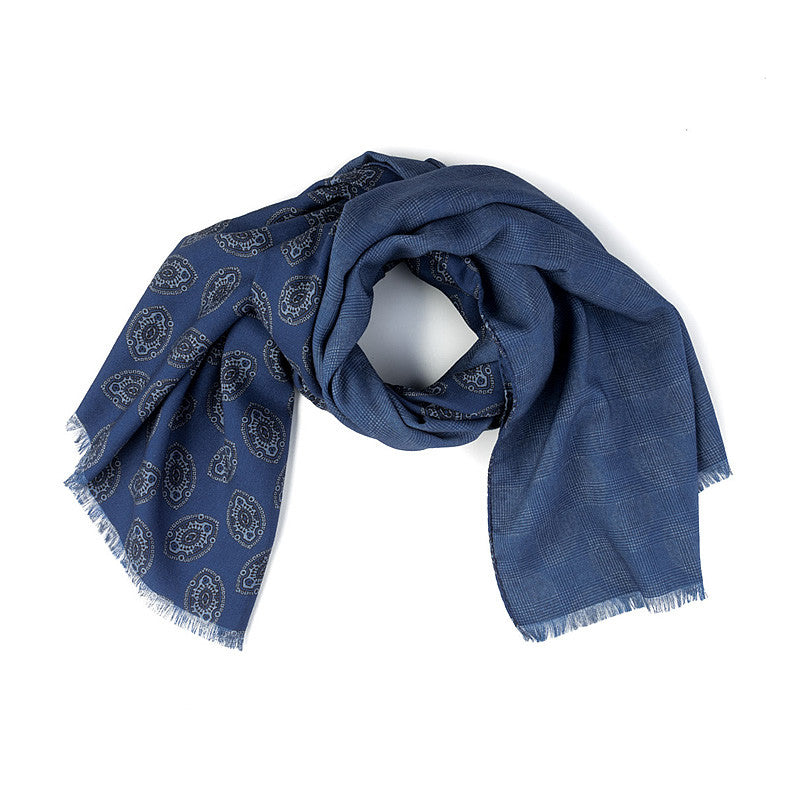 Wool Ornament Scarf in Blue