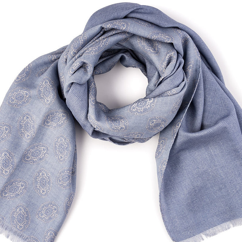 Wool Ornament Scarf in Silver - blue