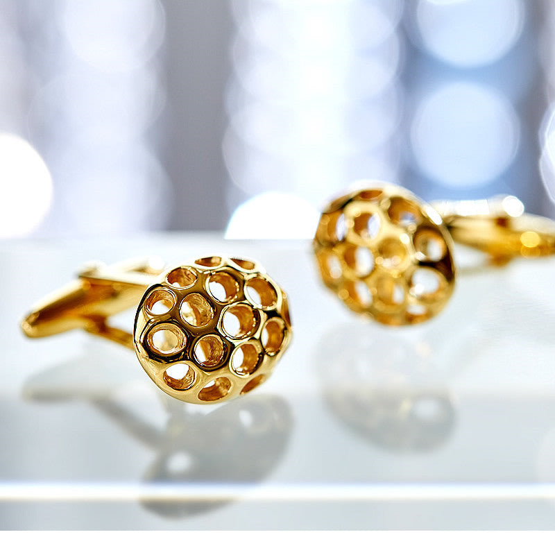 Men's Perforated Gold-Plated Silver Cufflinks-ANTORINI®