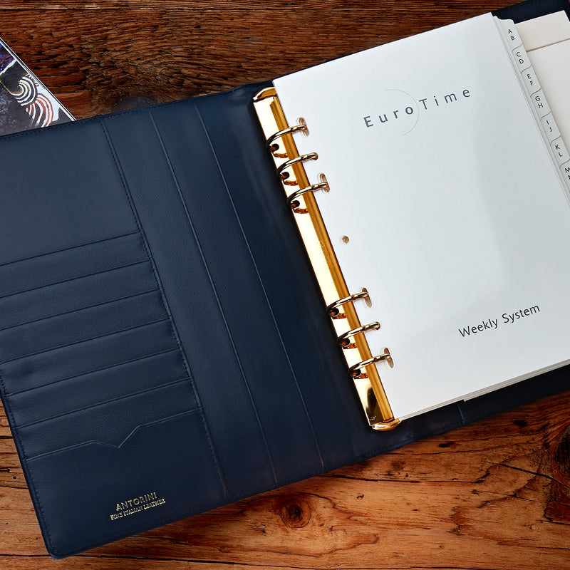 Leather Manager A5 Agenda in Navy, 2019