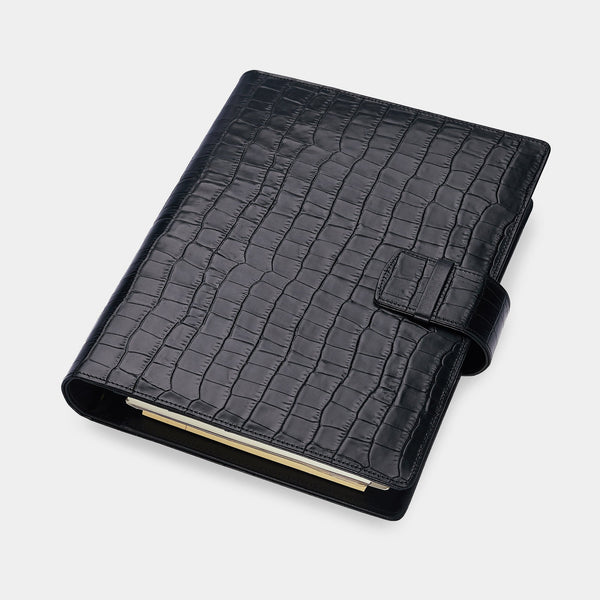 Large Executive Agenda in Black Matt Croc, A5
