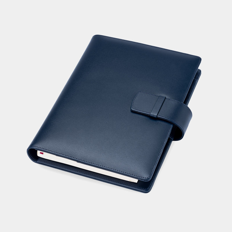 Leather A5 Padfolio in Navy with Notepad-ANTORINI®