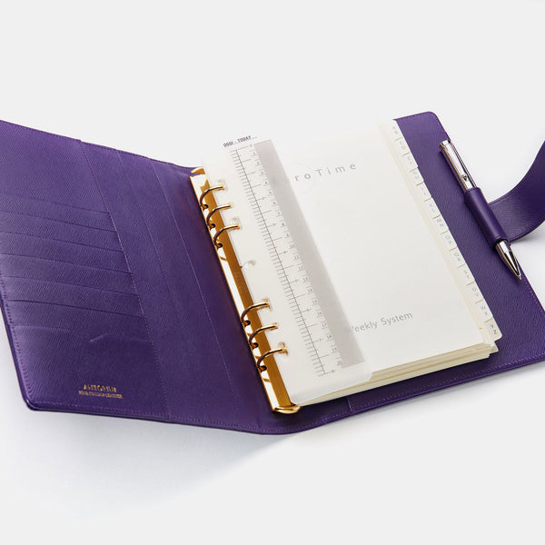 Leather Manager A5 Agenda in Purple Saffiano-ANTORINI®