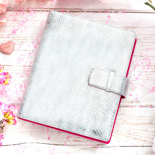 Leather Manager A5 Agenda ESSENCE in Silver and Fuchsia