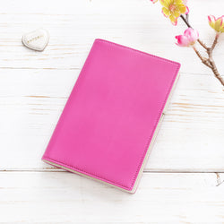 Leather A6 Diary in Pink and Ivory