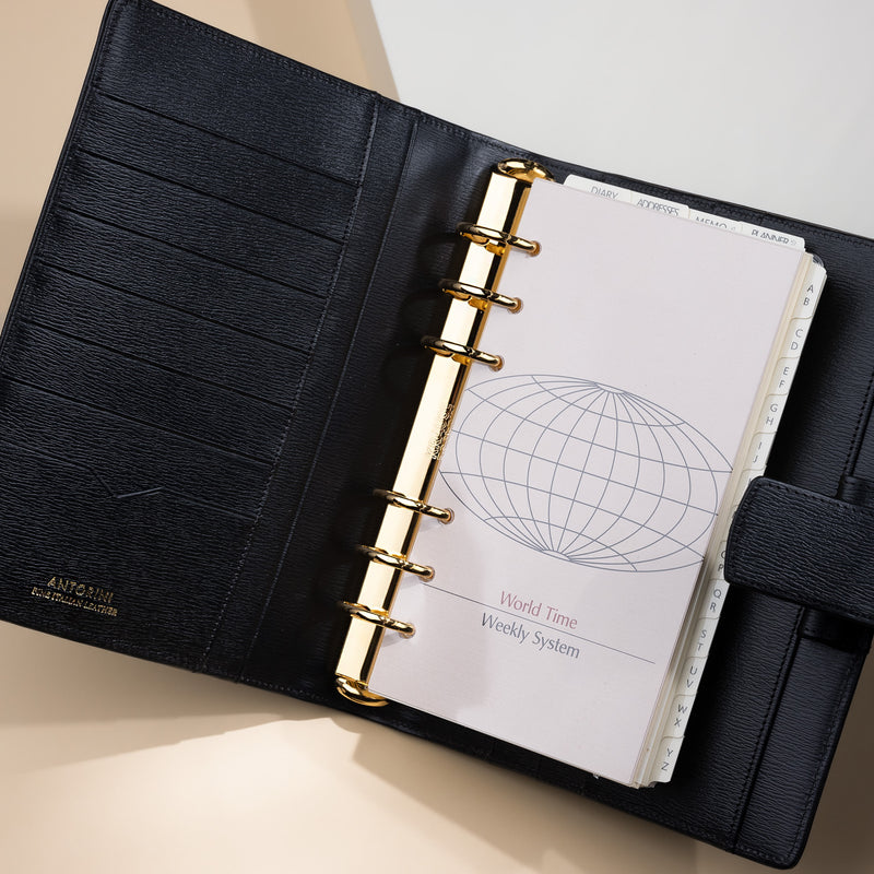 Compact Personal Organiser 2021 A6 in Terre, Black-ANTORINI®
