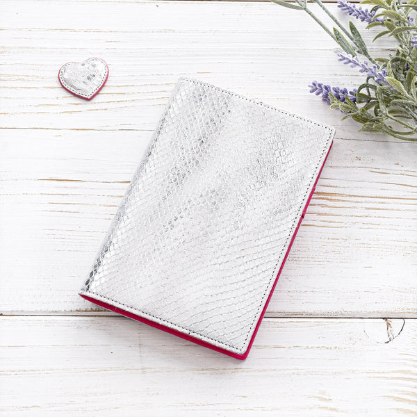 A6 Leather Pocket Diary in Silver and Fuchsia