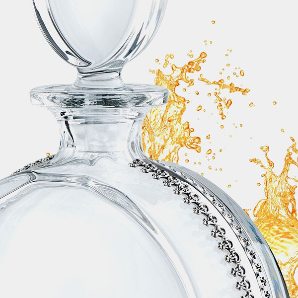 Crystal Decanter Carafe Napoleon., Silver-Plated Decoration-ANTORINI®