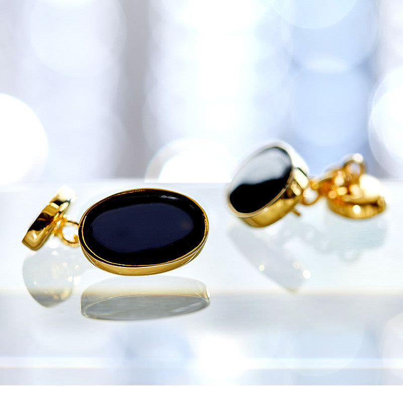 Men's Gold-Plated Silver Cufflinks, Black Onyx