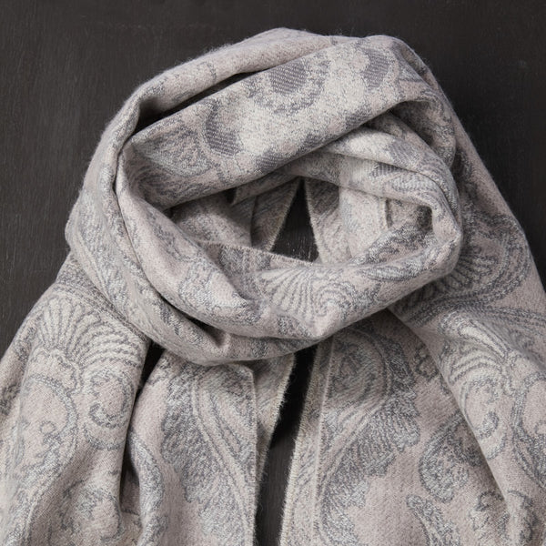 Cahmere Scarf with Paisley Pattern in Beige