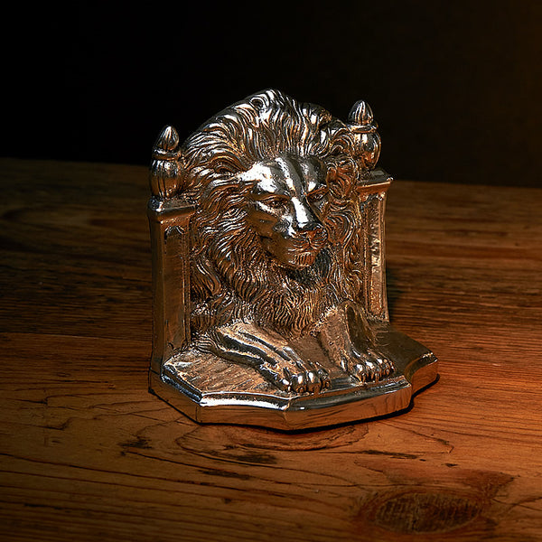 Silver Plated Pair of Bookends - Lions
