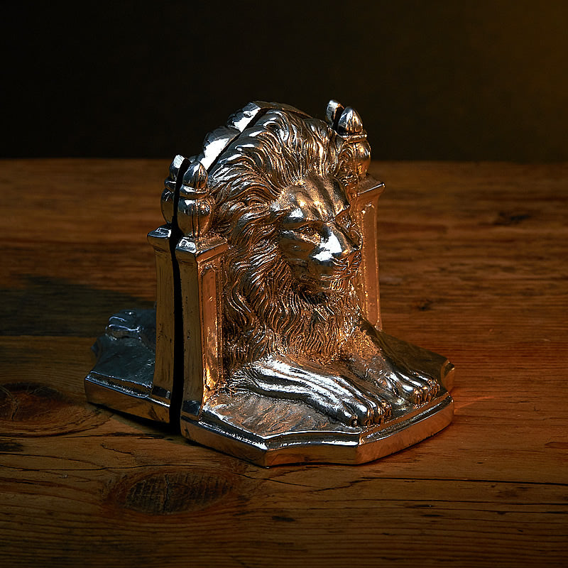 Silver Plated Pair of Bookends - Lions-ANTORINI®