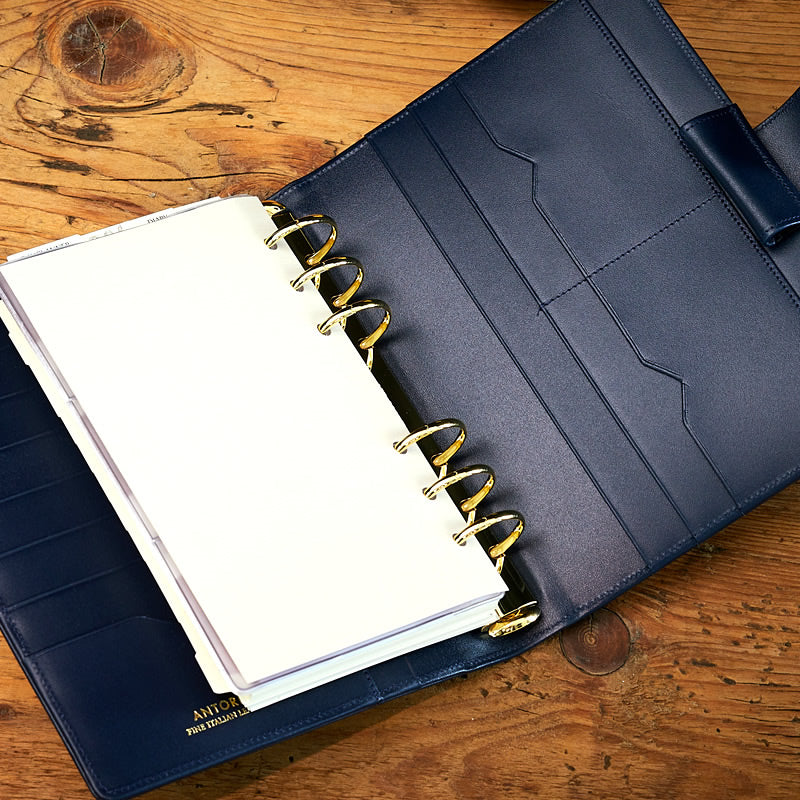 Leather Manager A6 Agenda in Navy, 2019