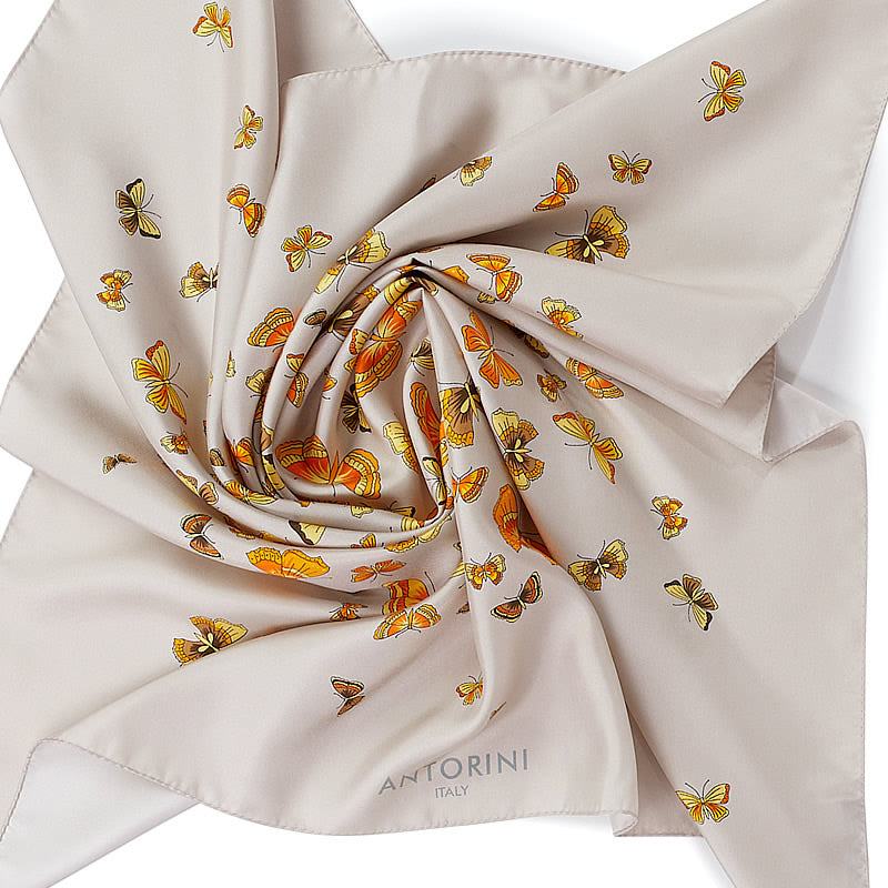 Luxury Butterflies Scarf ANTORINI Beige