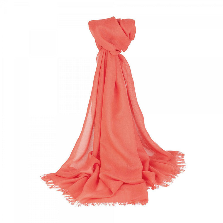 Merino Wool Scarf in Coral