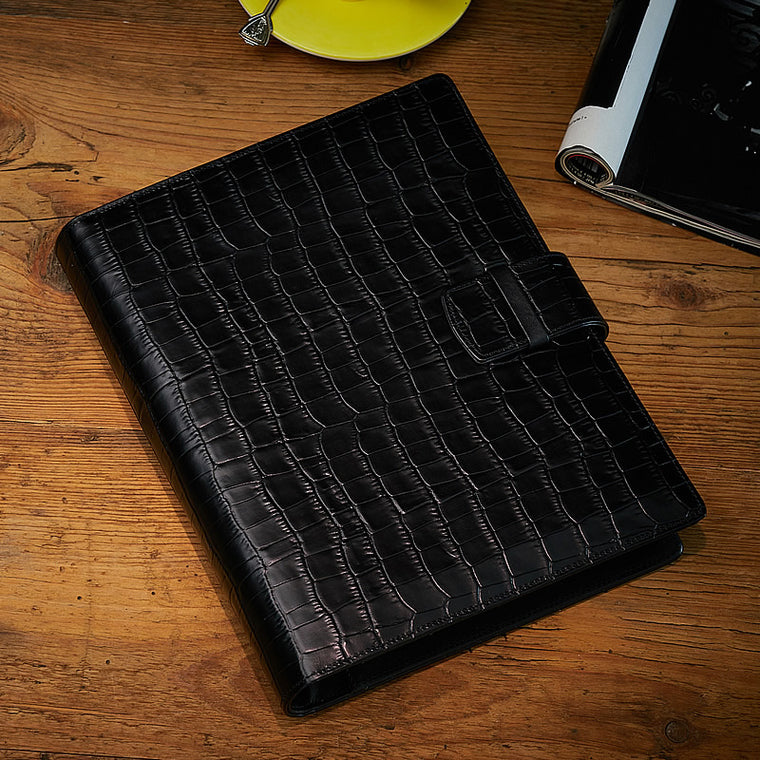 Large Executive Organiser in Black Matt Croc, A5