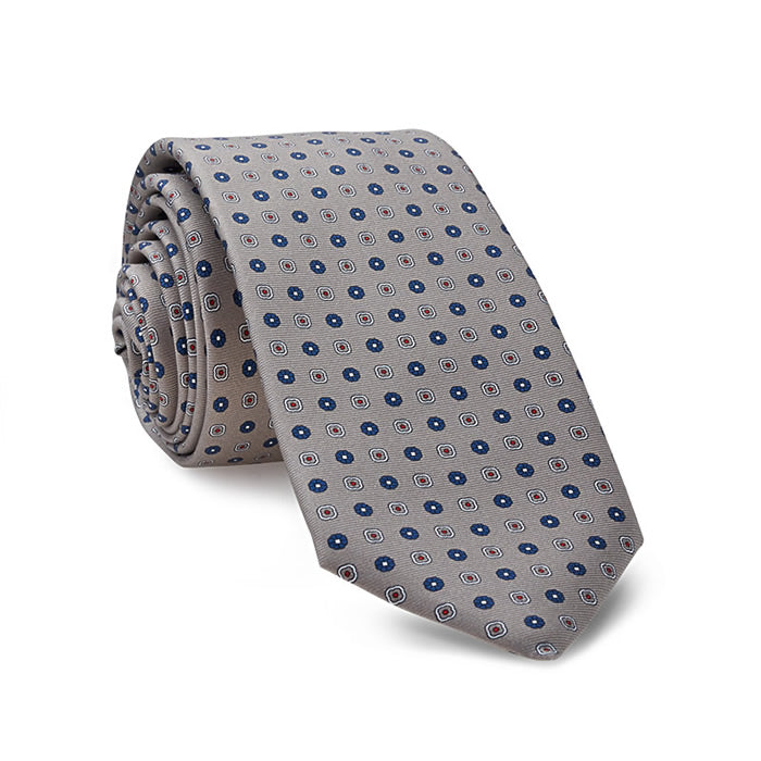 Luxury Silk Tie in Silver Grey with Flowers