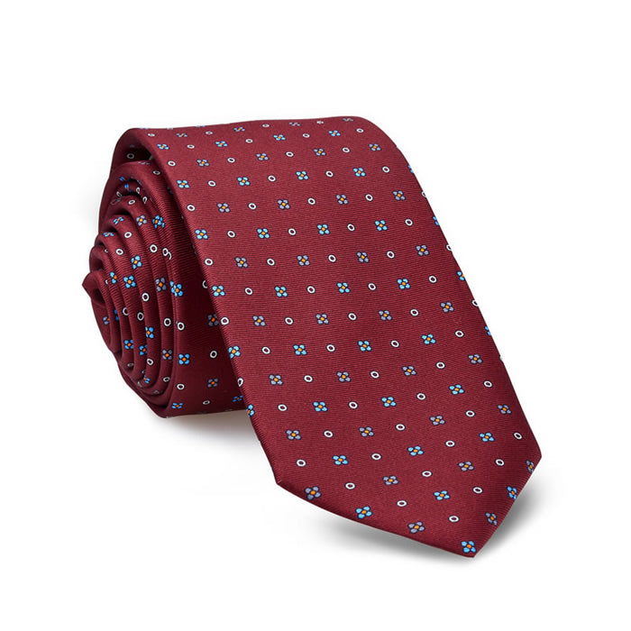 Luxury Silk Tie, Ruby and Flowers