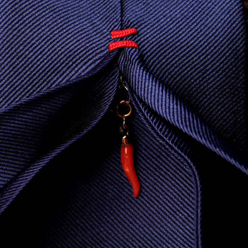 Silk Lucky Tie in Navy Blue with Coral Charm