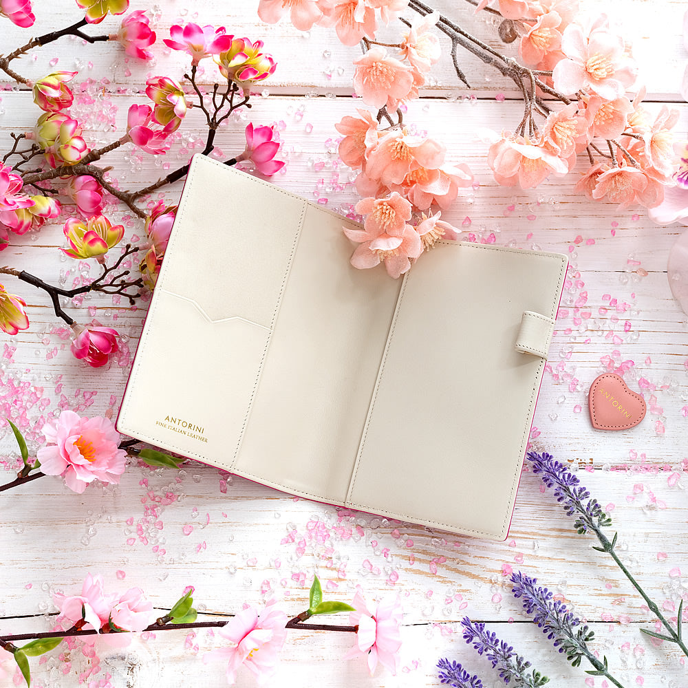 Slim Leather Pocket Diary in Fuchsia and Ivory