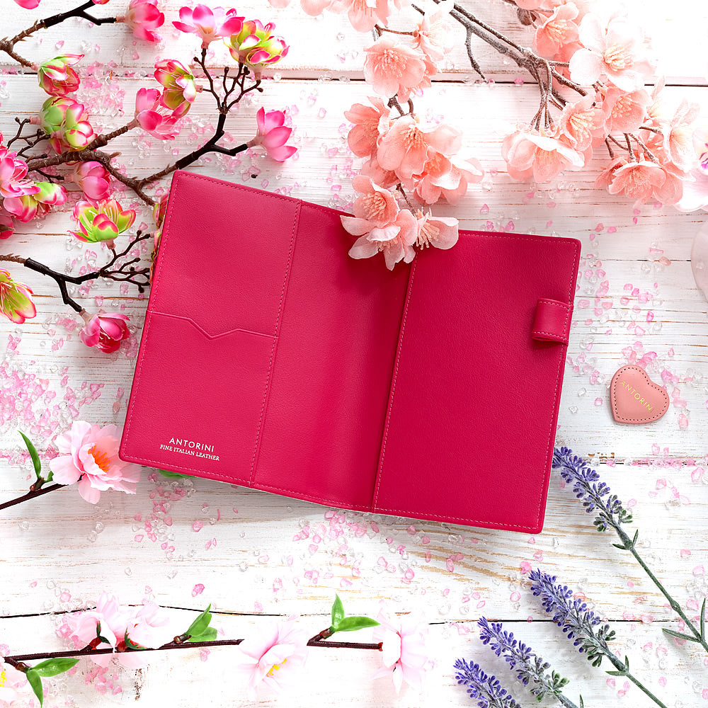 Slim Leather Pocket Diary in Silver and Fuchsia