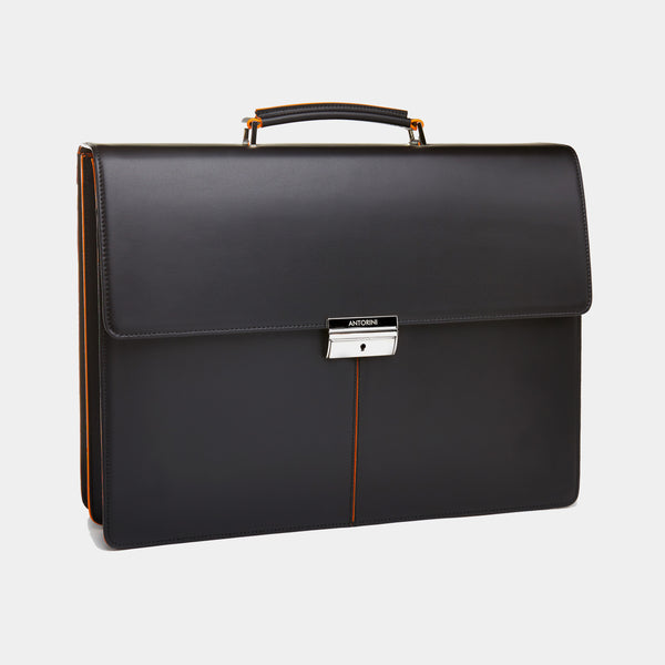 Leather Briefcase in Black and Orange