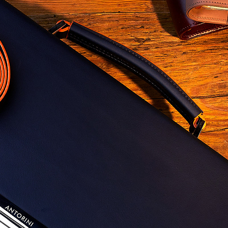 Executive Leather Briefcase, Navy&Orange