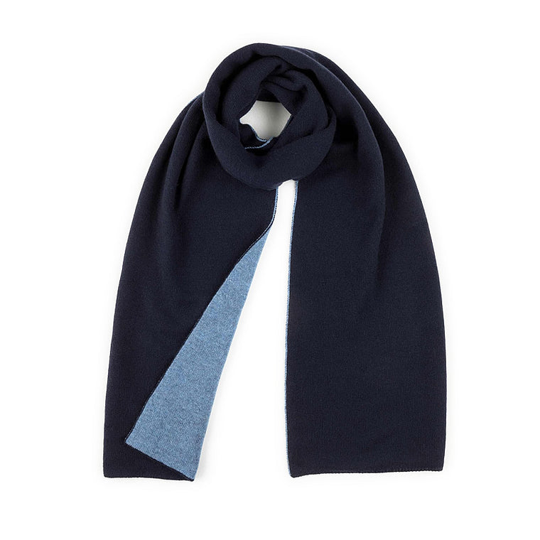 Reversible Cashmere Scarf, Navy-Light Blue