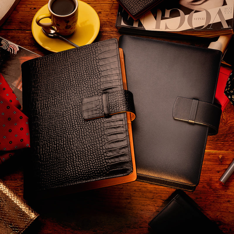 Leather Manager A5 Agenda in Black Croc and Cognac, 2019