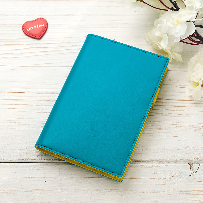 Slim Leather Pocket Diary in Turquoise and Yellow